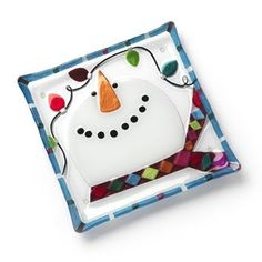 """Glass Fusion Snowman Plate 11"""" Kitchen & Dining"""