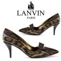 """🎀2X HOST PICK🎀Lanvin Leopard Print Pumps What a steal for a gorgeous pair of couture pumps from Lanvin Paris! Black & brown 100% calf leather leopard print pumps featuring a pointed toe, slip on style, brand embossed insole & a mid heel of 3.25"""". Classy flat bow adorns top w/gold hardware. In excellent used condition. Hardware and sole show some normal wear. Retails for $790. Comes w/ original box, which is in good shape w/ some signs of use. Multiple retail stickers on one side. Fast…"""