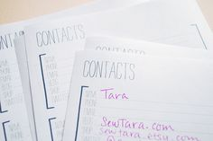 Blog Contacts Printable Page by wildolive, via Flickr