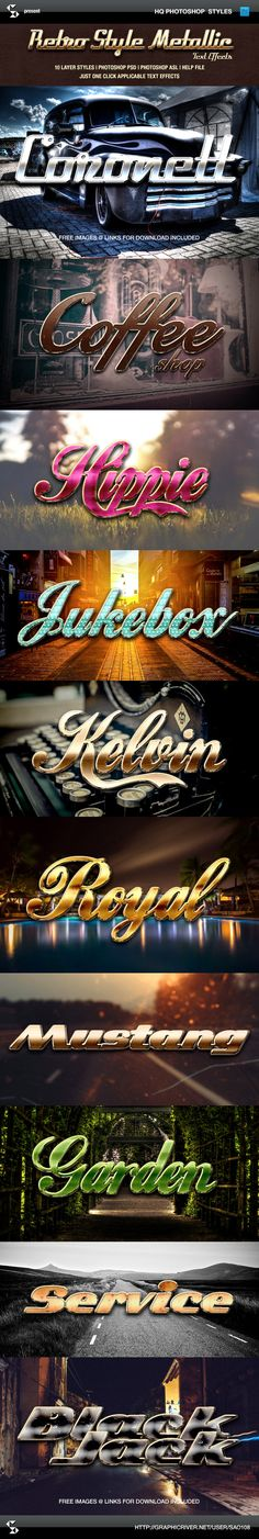 Retro Style Metallic Text Effects (photoshop layer styles, just one click  applicable text effects