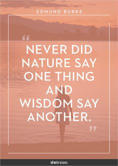 """""""Never did Nature say one thing and Wisdom say another."""" -Edmund Burke"""