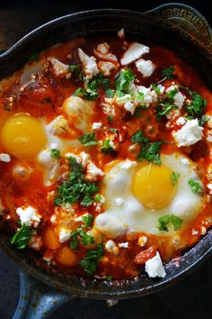 Dip 'n' Share Eggs with tomatoes, peppers and chorizo. Looks so delicious!