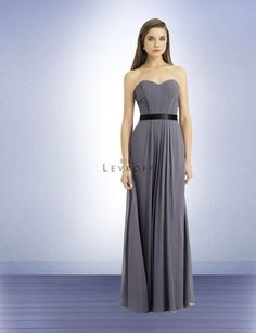 Bill Levkoff 748 - long chiffon dress with satin ribbon at waist; vertical front pleats accent the waistline