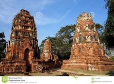 Photo about Three ancient brick buddhist temple ruins in Phra Nakhon Si Ayutthaya Thailand near Bangkok. Image of prang, shrine, near - 114192365 Temple Ruins, Buddhist Temple, Phra Nakhon Si Ayutthaya, Ayutthaya Thailand, Bangkok, Barcelona Cathedral, Brick, Tower, Building