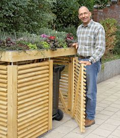 Ted's Woodworking Plans - Garden Store Plans - Outdoor Plans - Get A Lifetime Of Project Ideas & Inspiration! Step By Step Woodworking Plans Garbage Can Storage, Garbage Shed, Outdoor Trash Cans, Recycling Storage, Store Plan, Bin Store, Gazebos, Shed Plans, Diy Garden Decor