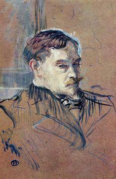 Romain Coolus Artist: Henri de Toulouse-Lautrec Completion Date: 1899 Style: Post-Impressionism Genre: portrait Technique: oil Material: cardboard Dimensions: 55 x 35 cm Gallery: Musee Toulouse Lautrec Tags: male-portraits
