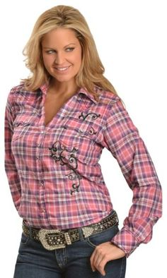 Wrangler Rock 47 Rhinestone Embellished & Embroidered Plaid Long Sleeve Top available at #Sheplers