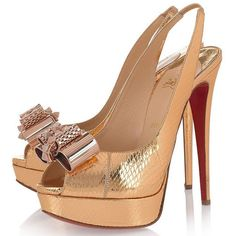Louboutin Gold watersnake slingbacks