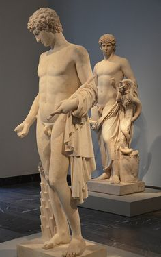 Two statues of Antinous, the so-called Omphalos Apollo, amended as Antinous and Antinous Agathodaemon,  Altes Museum, Berlin | da Following Hadrian
