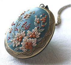 Turquoise Locket Necklace Floral Locket Necklace by Floraljewel
