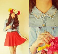 Diy Flower Headband, Romwe Studded Denim Shirt, Romwe Skirt, Romwe Claw Ring - POISONED APPLE - Kristine G