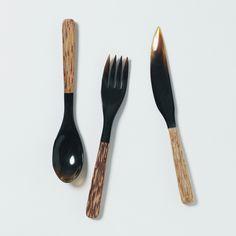 ウッド2トーンスプーン・フォーク・ナイフ