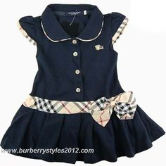 Burberry Kids Bow Check Dress Navy Blue
