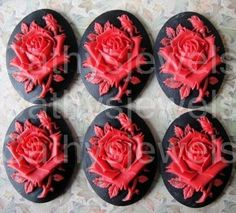 Cameo Set of Six Red  Rose 25x18 Portrait Cameos by Cathysjewels (Craft Supplies & Tools, Jewelry & Beading Supplies, Beads, cabochon, cameo, cameos, rose, red, black, scrapbooking, plastic, 18x25, 25x18, halloween, christmas, bead)