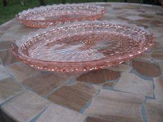 SET OF 2 DEPRESSION GLASS SERVING DISH PINK