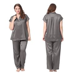 Soft Dark Gray Plus Size 100% Silk #Pajamas . | Lilysilk