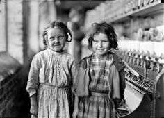 "Two of the Helpers in the Tifton Cotton Milll by Lewis Hine. Two of the ""helpers"" in the Tifton Cotton Mill, Tifton, Ga. They work regularly. Old Pictures, Old Photos, Baby Photos, Share Photos, Vintage Photographs, Vintage Photos, Antique Photos, Lewis Wickes Hine, Fotografia Social"