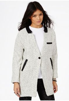 Petera Tweed Boyfriend Coat With Faux Leather Trim // Missguided via Sincerely Jules
