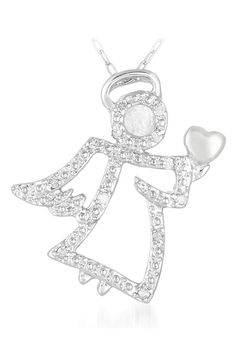 Athra 0.1 ct Diamond Sterling Silver Angel Pendant - Beyond the Rack