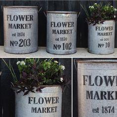 "Metal ""Flower Market"" Buckets, Set of 3"