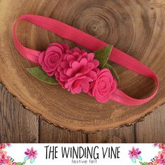 Pink Felt Flower Headband for Baby, Child, Teen, or Adult - Custom Elastic Color