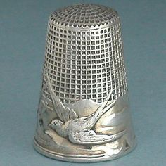 Antique French Silver Flight of The Sparrows Thimble w Waffle Knurling C1900s