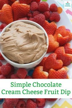 You have to make this crazy good and super easy chocolate cream cheese fruit dip recipe. Kick your next fruit tray up a few notches. Cream Cheese Fruit Dip, Chocolate Cream Cheese, Chocolate Pastry, Chocolate Art, Delicious Chocolate, Delicious Desserts, Delicious Dishes, Easy Fruit Dip, Fruit Dips