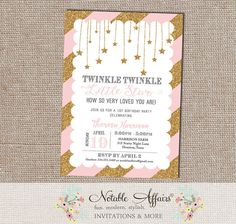 Twinkle Twinkle Little Star Light Pink and Glittery Gold Diagonal Stripes Modern Birthday Party invitation with scallop border - any age by NotableAffairs