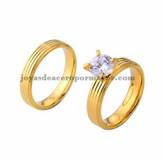 anillo de compromiso cristal en acero dorado inoxidable para amantes…