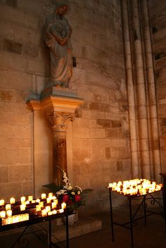 Prayer Candles in the St. Madeleine Basilica, France