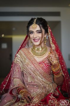 A Pinkish Wedding With Floral Mandap & A Charming Bride Indian Bridal Photos, Indian Bridal Outfits, Indian Bridal Lehenga, Indian Bridal Fashion, Indian Bridal Wear, Bridal Dresses, Bridal Pictures, Pakistani Bridal Hair, Indian Wedding Lehenga