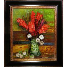 La Pastiche Vincent van Gogh 'Vase with Red Gladioli' Hand Painted Framed Art