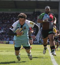 Jamie Elliott Photos - Jamie Elliott of Northampton dives over for a try during the Aviva Premiership match between Harlequins and Northampton Saints at Twickenham Stoop on May 2013 in London, England. - Harlequins v Northampton Saints - Aviva Premiership Northampton Saints, London England, Rugby, Photos, Pictures, Photographs, Rugby Sport, London, Cake Smash Pictures