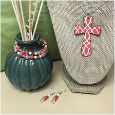 """Lovely+Orange/Coral #Cross #pendant +with +Handmade+bracelet+in+orange/coral,+clear,+pearl+and+brown+colors,+ Made+in+memory+wire,+with+crystals+beads Earrings+are+included+ Necklace+is+apprx+18""""+long+"""