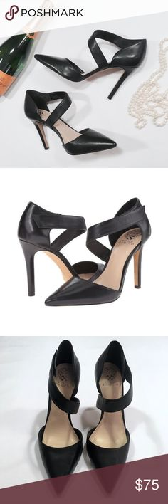 "Vince Camuto Pointed Toe Heels | Velcro Strap Vince Camuto Black Leather Pointy Toe Heels with Asymmetrical Velcro Strap | 4"" heel  Excellent condition. Almost LIKE NEW!🌟  Offers are always welcome & appreciated.💕 ___________  Give found fashion a forever home.™️ Visit The Foundress often to see if I've found your new favorite thing!💋 Vince Camuto Shoes Heels"