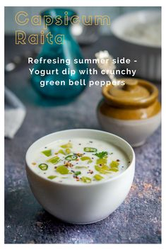 Capsicum raita or Capsicum Pachadi – Chilled and refreshing yoghurt dip with crunchy bites of capsicum! Cools down any hot Indian meal in this hot and humid season. A summer refresher.