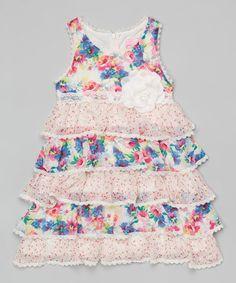 Look what I found on #zulily! Pink Floral Tiered Dress - Girls #zulilyfinds