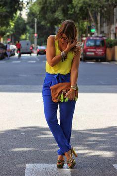 Miss trendy Barcelona: Pantalones azul klein