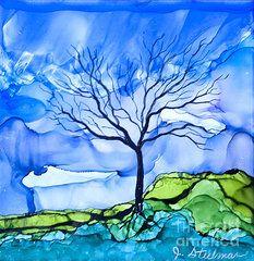 Alcohol Ink Art - Blue Tree by Jane Steelman