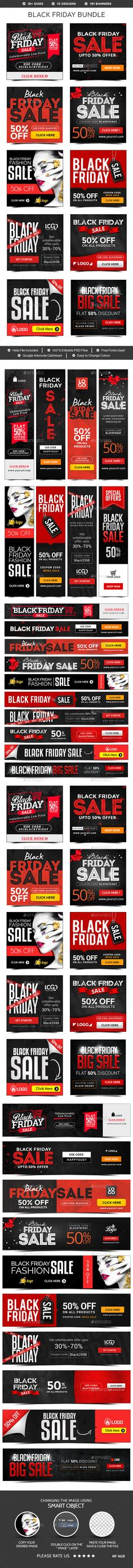 Black Friday Banners Design Template Bundle - 10 Sets - 191 Banners - Banners & Ads Web Elements Ads banner Design Template PSD. Download here: https://graphicriver.net/item/black-friday-banners-bundle-10-sets-191-banners/18901186?ref=yinkira