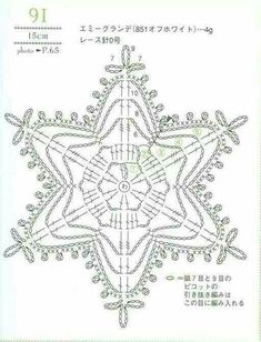 from Crochet laceworkQuite big snowflake Crochet Snowflake Pattern, Crochet Stars, Christmas Crochet Patterns, Crochet Snowflakes, Doily Patterns, Thread Crochet, Christmas Knitting, Crochet Diagram, Crochet Motif