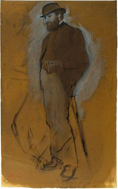 The Morgan Library Museum Online Exhibitions - Degas: Drawings and Sketchbook - Edgar Degas - Standing Man in a Bowler Hat Edgar Degas, Life Drawing, Figure Drawing, Painting & Drawing, Degas Drawings, French Impressionist Painters, Art Ancien, Art Moderne, Pierre Auguste Renoir