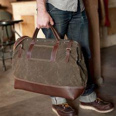 Wood & Faulk. Mens bag. mens duffle. leather bag. leather menswear.