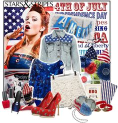 """""""4th of July-Stars and Stripes Forever"""" by huichinlu ❤ liked on Polyvore"""