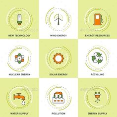 Buy Modern Ecology Line Icons Set by antartstocks on GraphicRiver. Modern Vector Ecology Line Icons Set. New Technology, Clean Energy, Recycling, Pollution, Water and Energy Supply Ant Art, Computer Vector, Energy Supply, Green Technology, Vector Design, Ui Design, Graphic Design, Line Icon, Clean Design