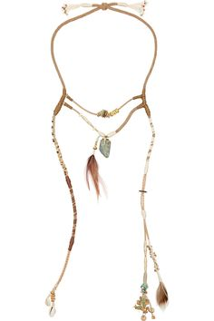 Etro | Suede, feather and shell necklace  | NET-A-PORTER.COM