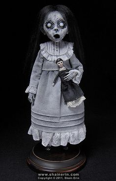 Christina - Ghost Art Doll Figurine    Handmade Art Doll. 8 inches tall. Mixed media.  Copyright © 2011, Shain Erin.