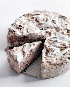 chocolate ice cream cake hazelnuts and marshmallow swirls