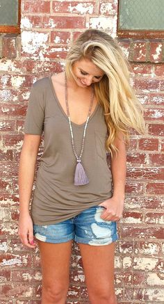 V-Neck on Repeat Tee- Green