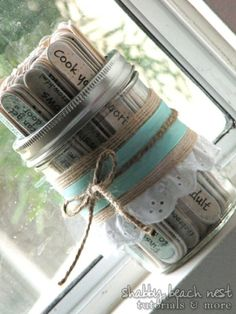 Sticks in a Jar: Multiple suggestions. I'm Bored Jar. Date Night Jar (Get your bridal shower guests to write a date night idea on a stick.) Recipe Jar (for menu planning) Before Wedding, Our Wedding, Dream Wedding, Wedding Pins, Wedding Stuff, Wedding Advice, Trendy Wedding, Perfect Wedding, Wedding Venues